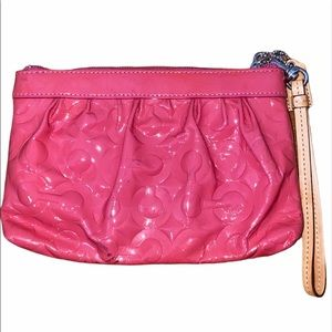Coach Hot Pink Patent Leather Wristlet Wallet
